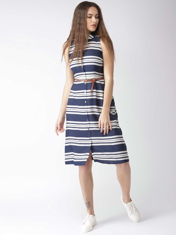 873e1995bd Buy Mast   Harbour Women Navy Blue   White Striped Shirt Dress ...