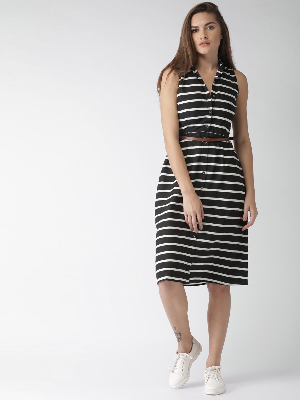 8fcd967f36 Buy Mast   Harbour Women Black   White Striped Shirt Dress - Dresses ...