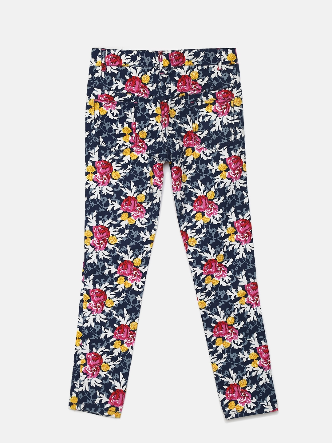 3fccaba2f Buy 612 League Girls Navy Blue Floral Print Trousers - Trousers for ...