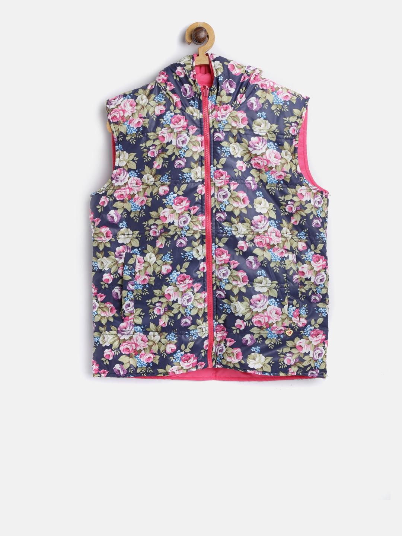b5444165c Buy 612 League Girls Navy Blue & Pink Floral Print Reversible Padded ...