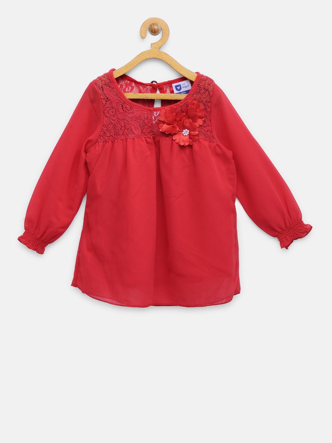 ead24d7e19d1 Buy 612 League Girls Red Solid Top - Tops for Girls 2187460