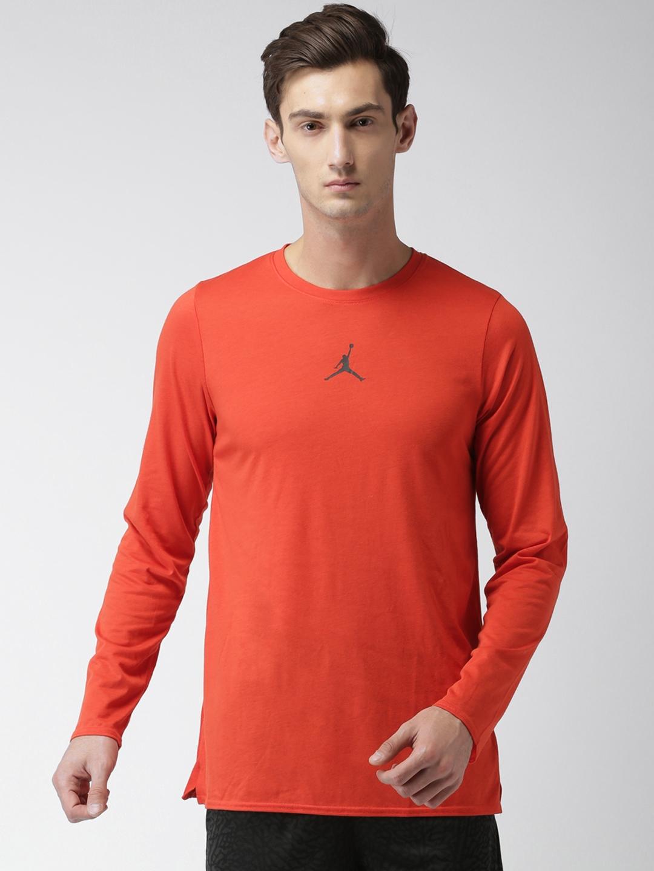 d56d26f9ab7545 Nike Men Rust Orange Solid Round Neck NBA JORDAN 23 Alpha Training T-shirt
