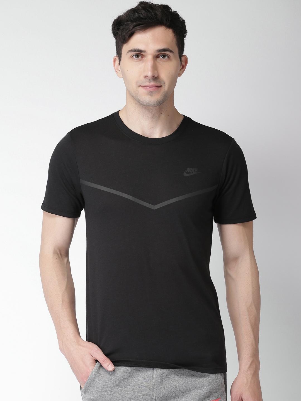 67dad7d32eb Buy Nike Men Black Solid Round Neck AS M NSW TB TECH T Shirt ...