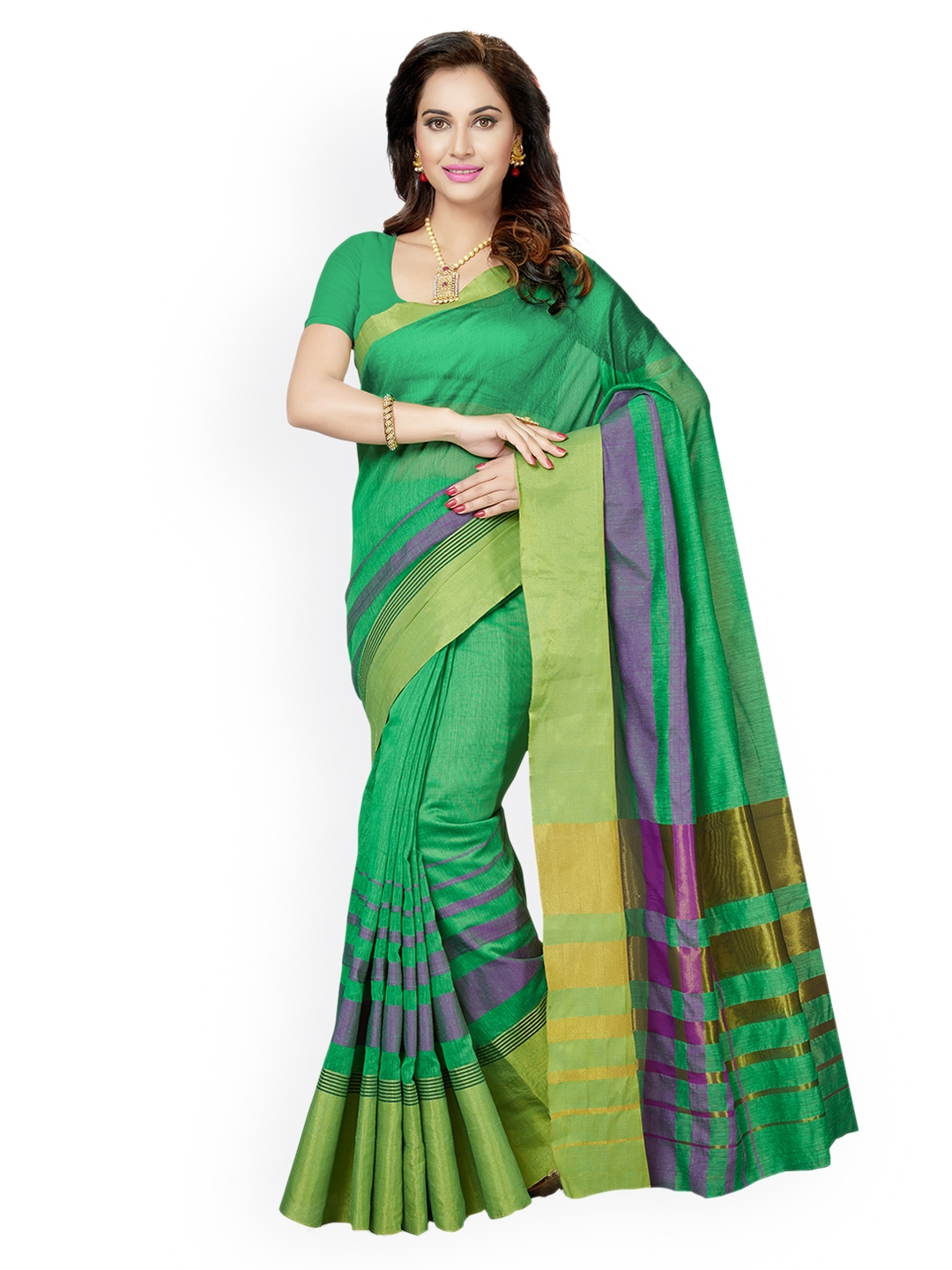 eedc928f1 Buy Ishin Green Striped Poly Silk Saree - Sarees for Women 2191627 ...