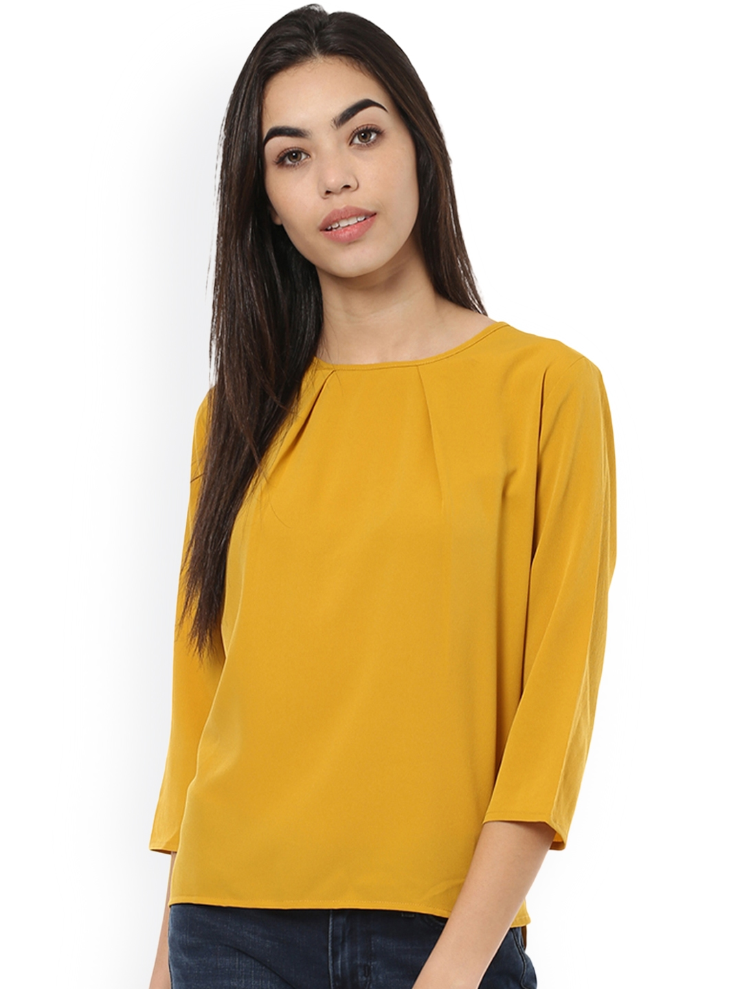 edf867e97a96a0 Buy Harpa Women Mustard Yellow Solid Top - Tops for Women 2192030 ...