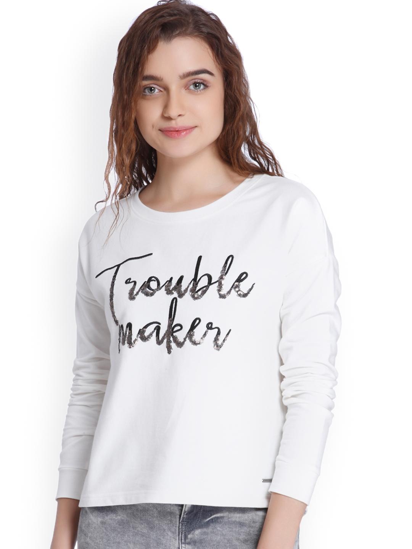 Vero Moda Women White Self Design Sweatshirt
