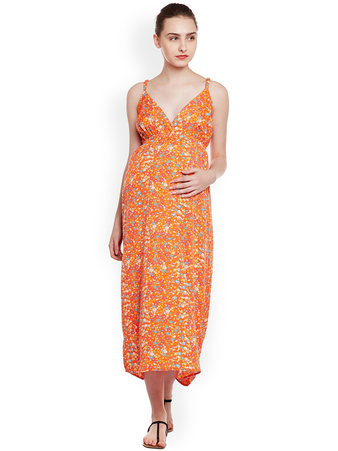 479a173627a Buy Oxolloxo Women Orange Printed Maternity Maxi Dress - Dresses for ...