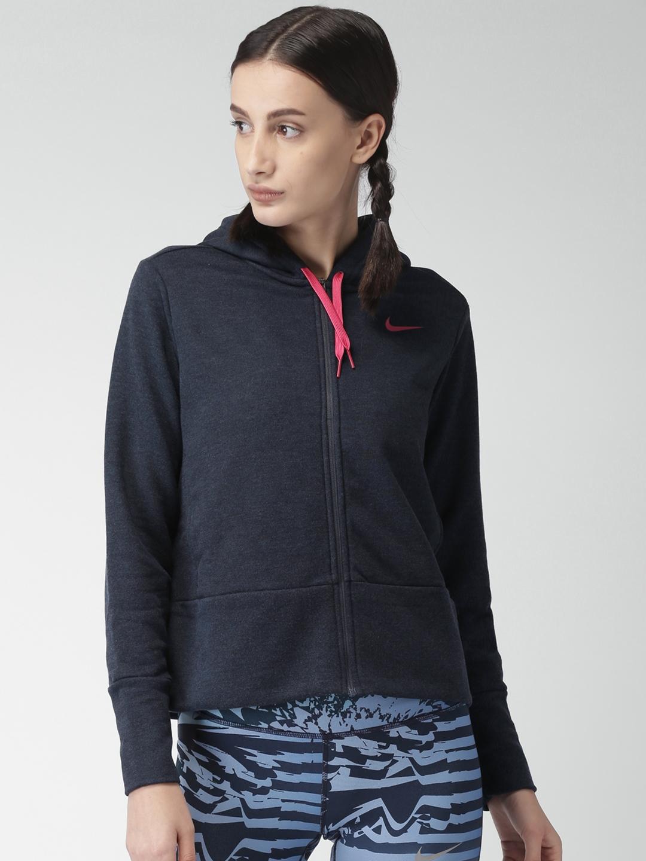 5c136d0b8249 Buy Nike Women Navy Blue Solid AS W NK DRY Hooded Sweatshirt ...