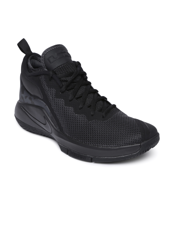 Nike Men Black Textile LEBRON WITNESS II Mid-Top Basketball Shoes