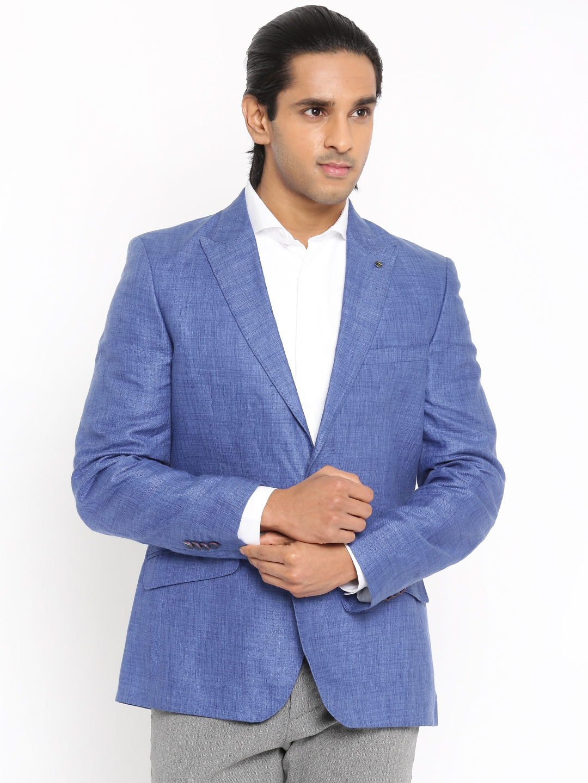 3cf664da40c Raymond Men Blue Single-Breasted Tailored Contemporary Fit Linen Formal  Blazer