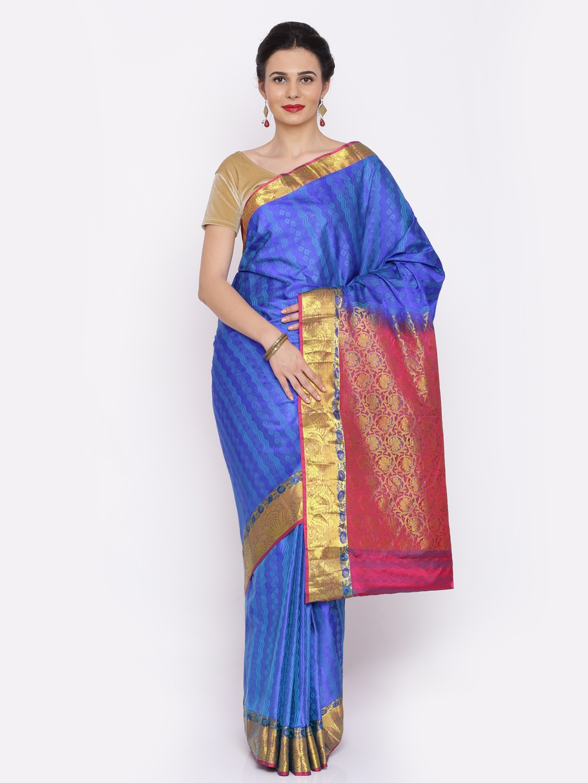 The Chennai Silks Classicate Blue Pure Silk Woven Design Kanjeevaram Saree