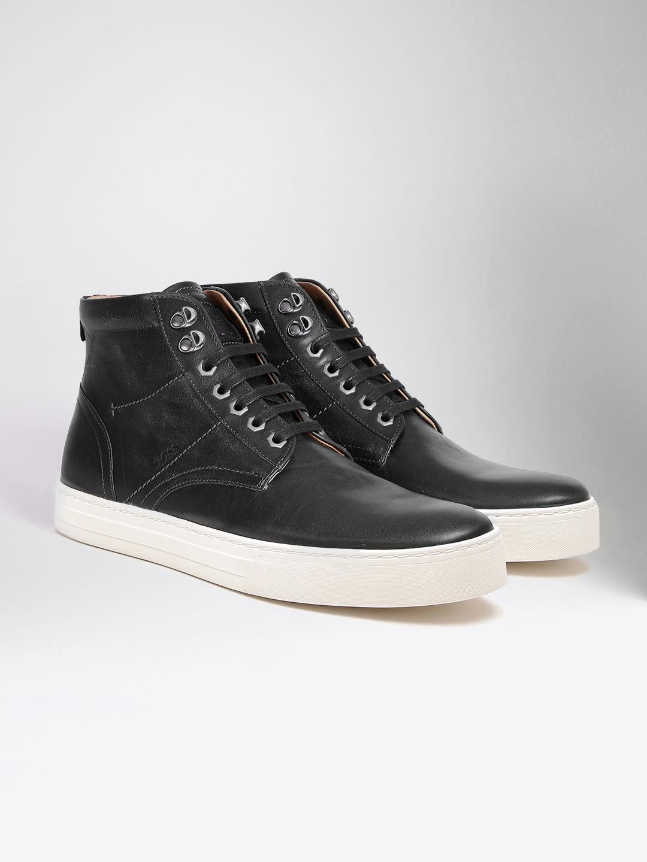 6882b595ae21 Buy BOSS Orange Men Black Solid Leather Mid Top Sneakers - Casual ...