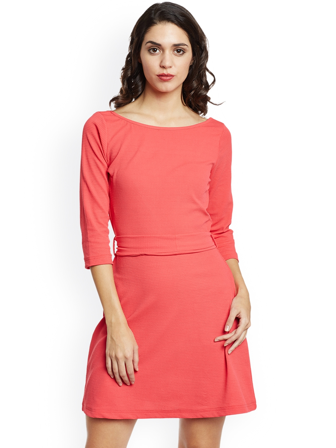 dd5f5ed3b7b3 Buy THE SILHOUETTE STORE Women Pink Solid A Line Dress - Dresses for ...