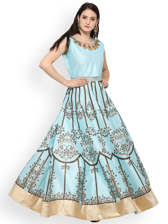fd8c1740c4 Buy RIYA Blue Silk Blend Unstitched Gown Dress Material - Dress ...