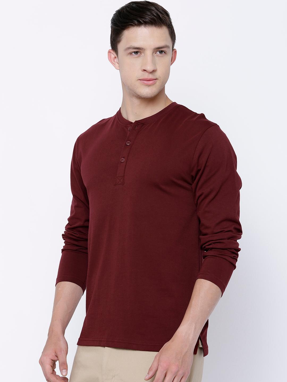 23baa569c7dd8 Buy HIGHLANDER Men Maroon Solid Henley Neck T Shirt - Tshirts for ...