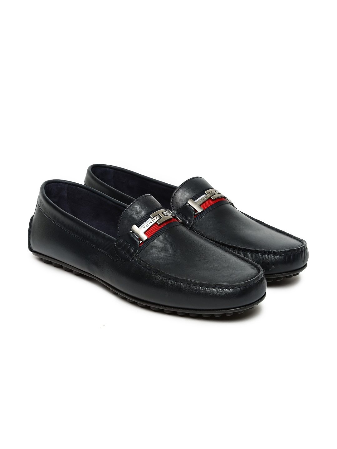 257ae7fa87bf0 Buy Tommy Hilfiger Men Navy Blue Leather Loafers - Casual Shoes for ...