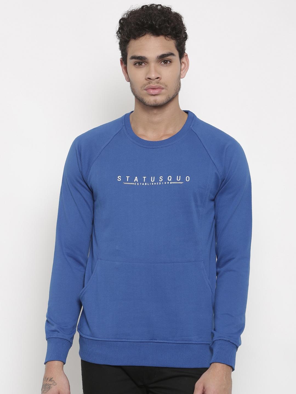 Status Quo Men Blue Printed Sweatshirt
