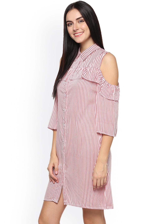 787ed6cee38 Buy Abiti Bella Women Red   White Striped Shirt Dress - Dresses for ...
