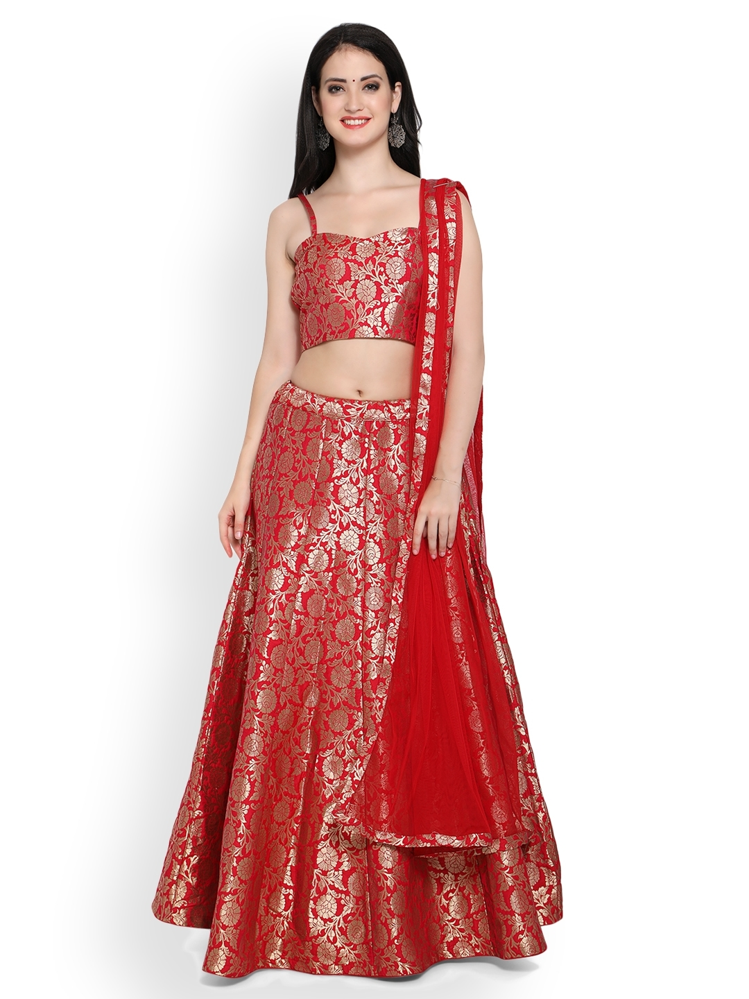 0163eb3a68e Buy Induss Red Semi Stitched Lehenga Choli - Lehenga Choli for Women ...