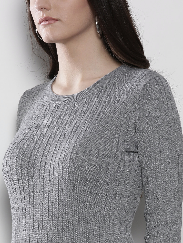 78da5354982b2 Buy DOROTHY PERKINS Women Grey Cable Knit Longline Sweater ...