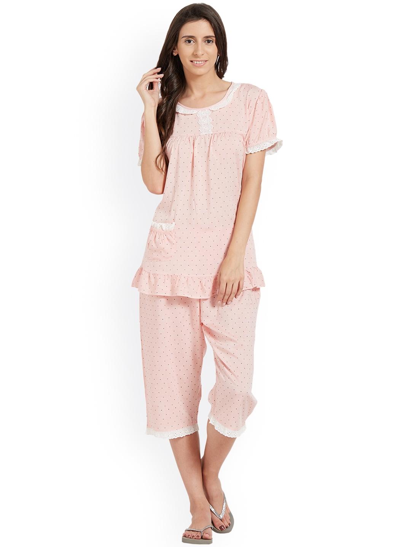 3eadd2ed93 Buy Blush By PrettySecrets Pink Printed Lace Trim Nigh Suits - Night ...