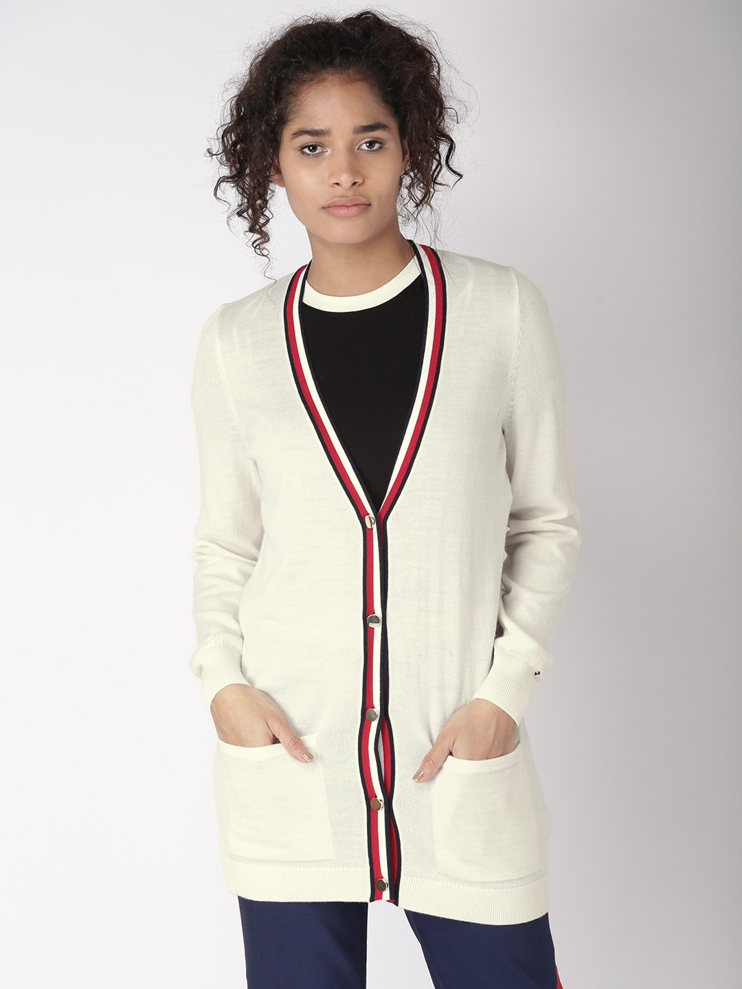 458726b373 Buy Tommy Hilfiger Women White Solid Cardigan - Sweaters for Women ...