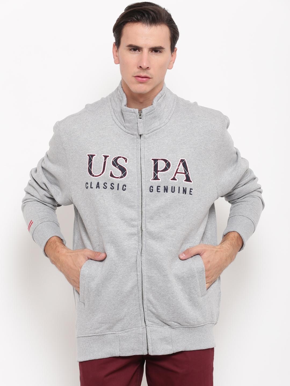 U.S. Polo Assn. Men Grey Solid Sweatshirt