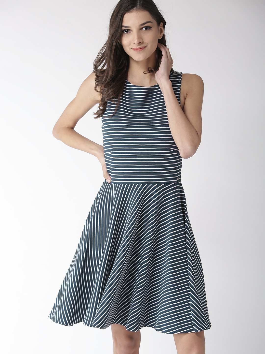 a54b97362a Buy Tommy Hilfiger Women Navy Blue Striped Fit And Flare Dress ...