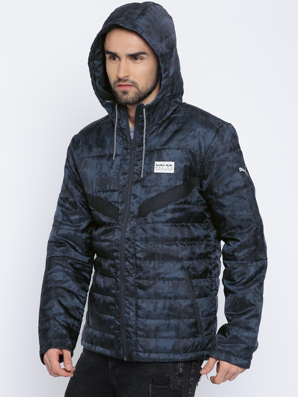 3de9c978 Buy Puma Men Navy Printed RBR Vent Padded Hooded Jacket - Jackets ...