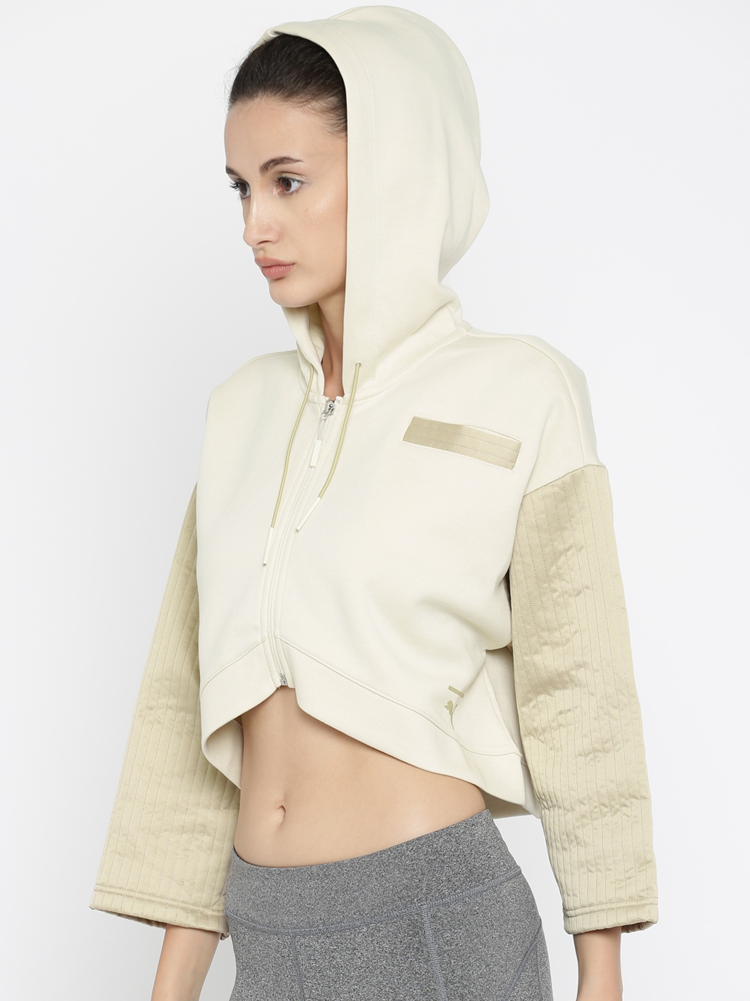 0305f2a28dfd Buy Puma Women Beige Solid Quilted FZ Crop Hooded Sporty Jacket ...