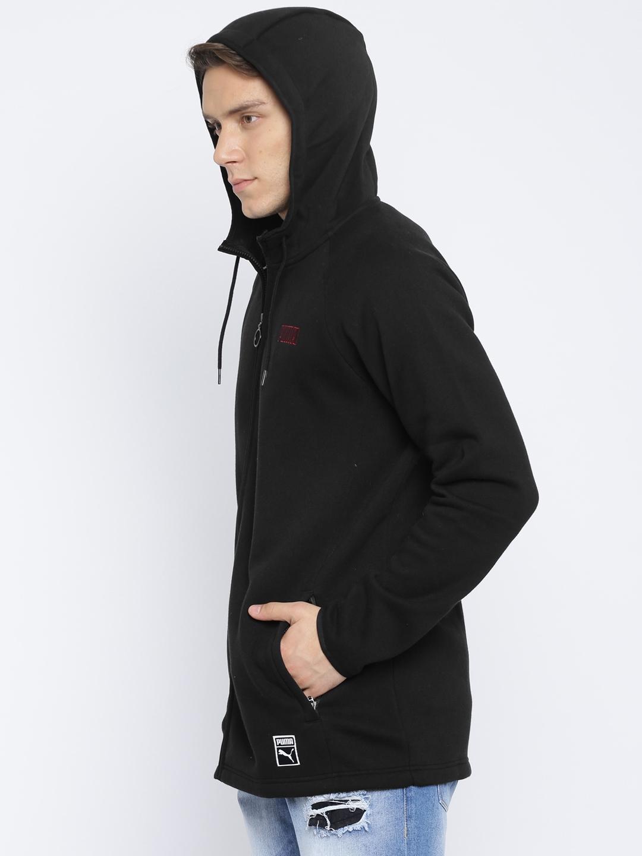 bad833dac0a7 Buy Puma Men Black Solid Record Fleece FZ Hooded Sweatshirt ...