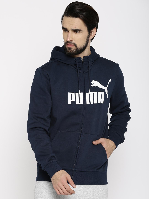 Buy Puma Men Navy Blue Printed ESS No.1 FZ Hooded Sweatshirt ... a5633ae8e3