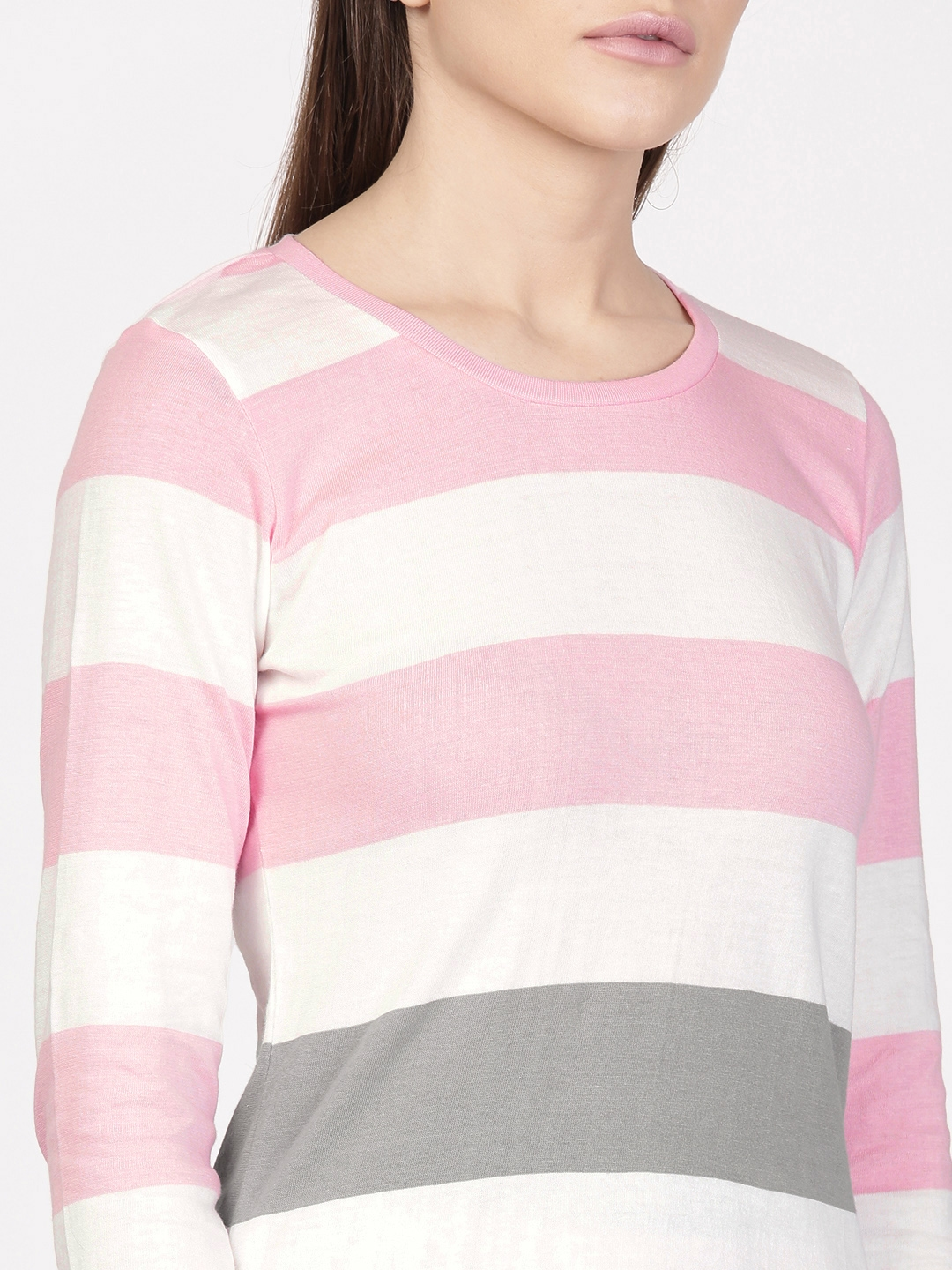 94908246d18 Buy Ether Women White & Pink Striped Long Sleeve Round Neck T Shirt ...