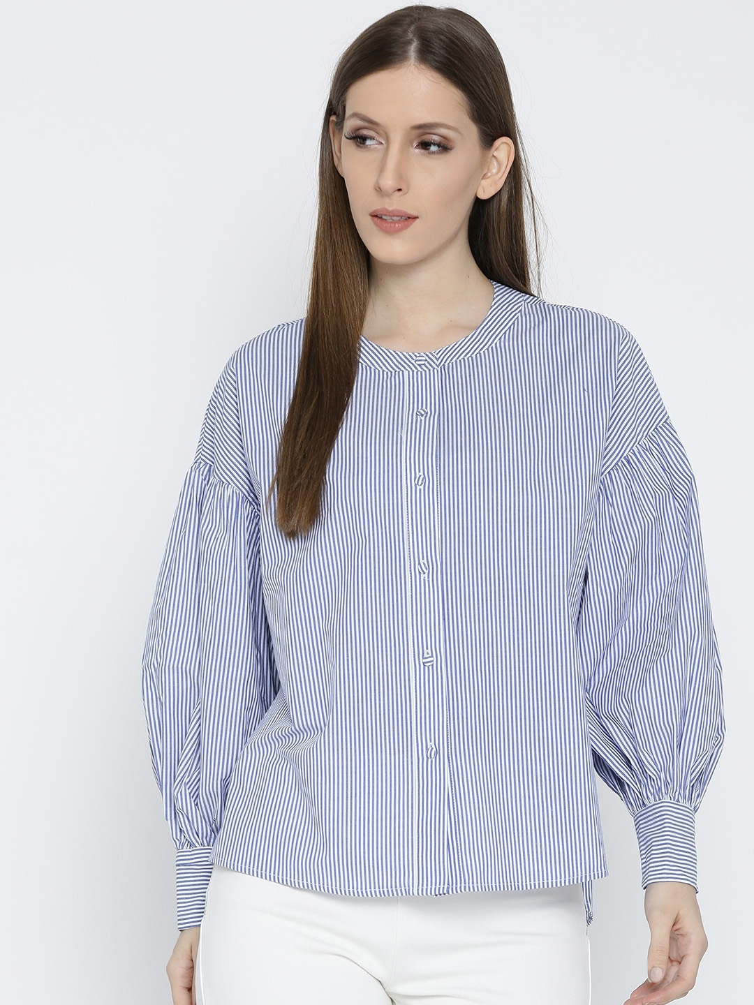 567fb77a98 Buy MANGO Women Blue & White Striped Shirt Style Top - Tops for ...