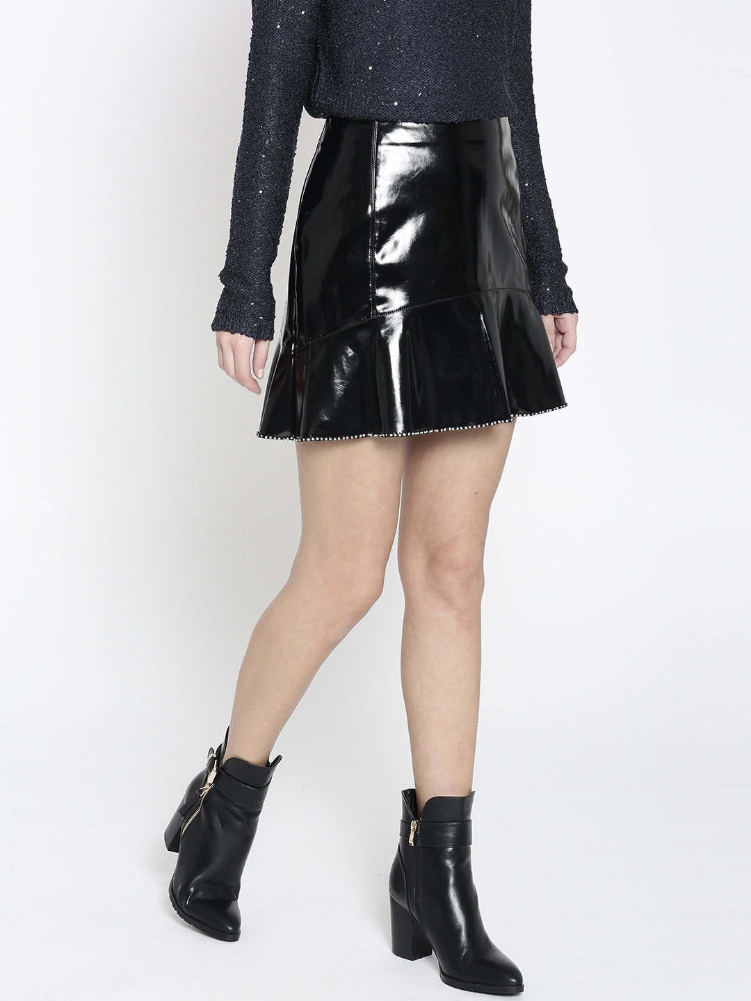 5b1a150580f Buy MANGO Black Faux Leather Mini A Line Skirt - Skirts for Women ...