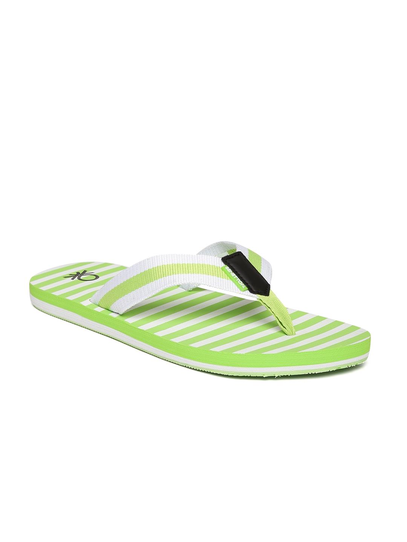 28e8f07e1da United Colors of Benetton Men Lime Green   Off-White Striped Thong Flip- Flops
