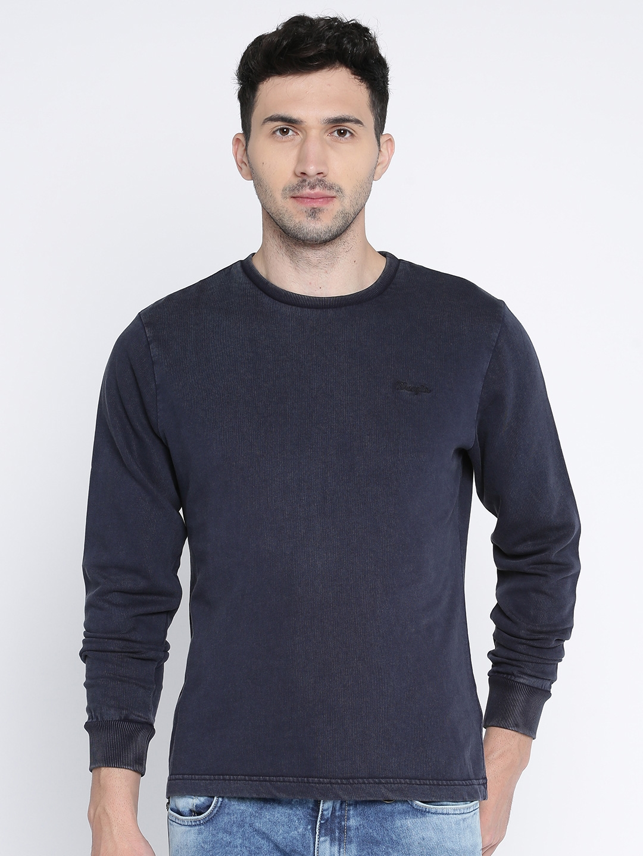 Wrangler Men Navy Blue Solid Sweatshirt