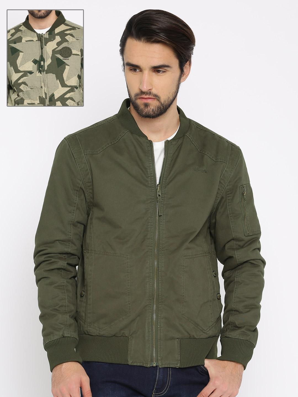 e8383417243c Buy Wrangler Men Olive Green Reversible Bomber Jacket - Jackets for ...