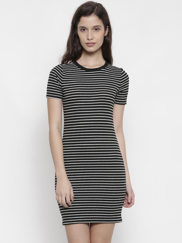 31ac8449080 Buy FOREVER 21 Women Black   White Striped Bodycon Dress - Dresses ...
