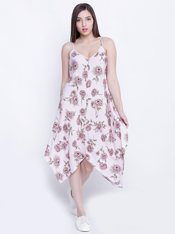 Buy Forever 21 Women Light Pink Printed A Line Midi Dress Dresses