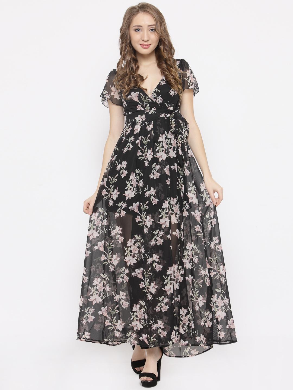 39cb3907f961 Buy FOREVER 21 Women Black Floral Print Wrap Maxi Dress - Dresses ...