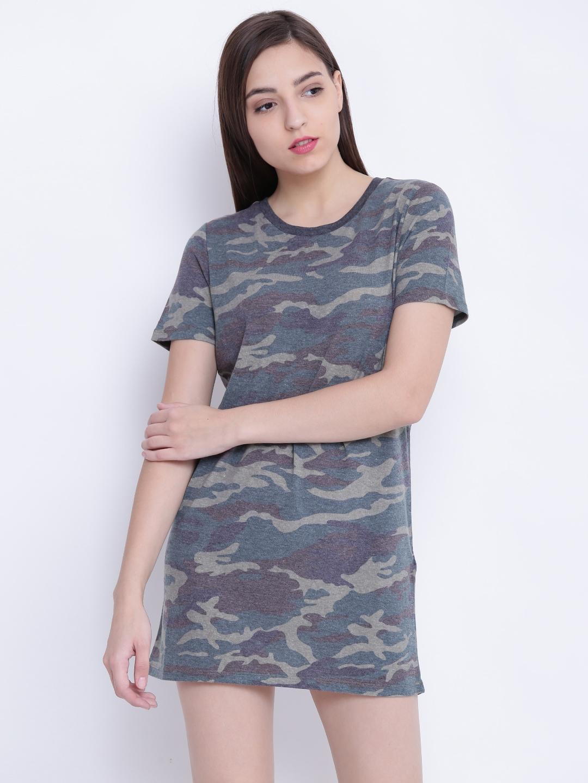 7cafa923bd62 Buy FOREVER 21 Women Green & Brown Camouflage Print T Shirt Dress ...