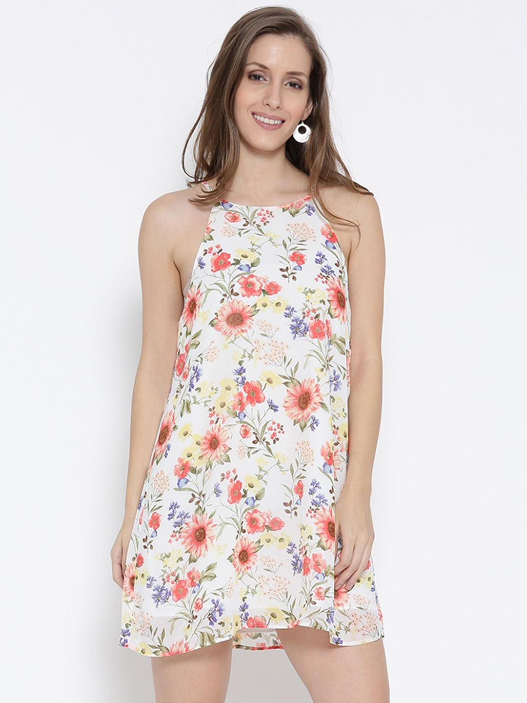 ee2e72ae11c Buy FOREVER 21 Women White Floral Print A Line Dress - Dresses for ...