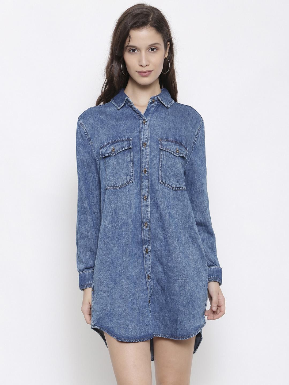 865caff3f7b7 Buy FOREVER 21 Women Blue Solid Shirt Dress - Dresses for Women ...