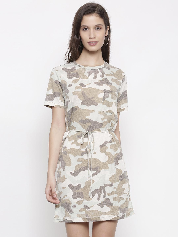 7b24b41229 Buy FOREVER 21 Women Grey Printed T Shirt Dress - Dresses for Women ...