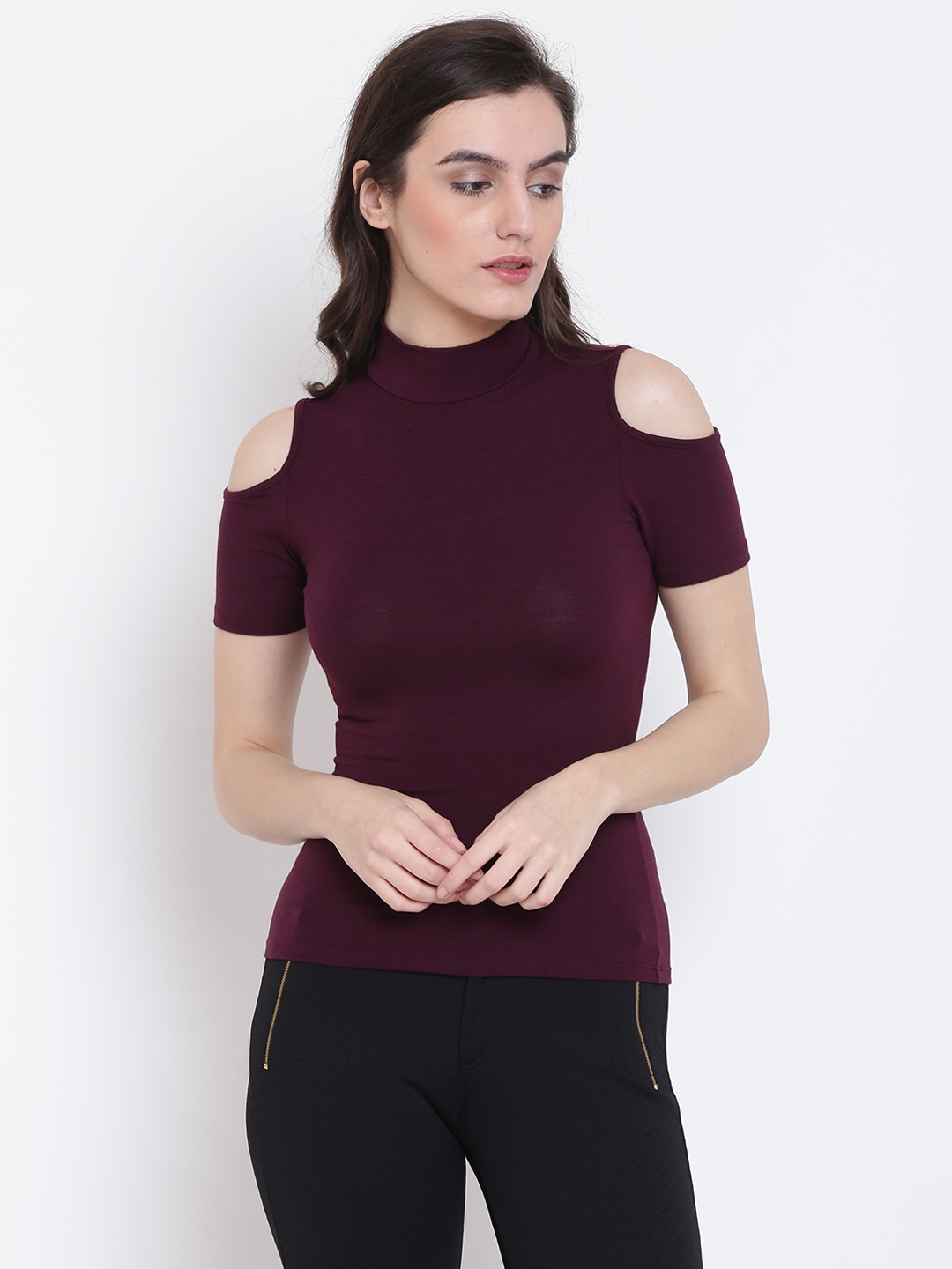 f22c9878b1f1d0 Buy FOREVER 21 Women Aubergine Solid Fitted Top - Tops for Women ...