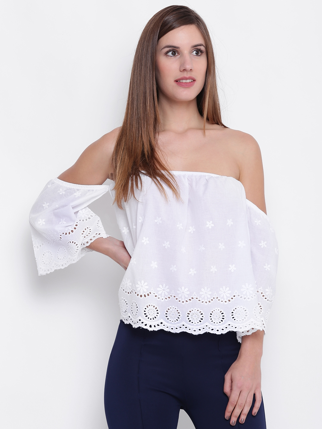 c91d7cfdc5f Buy FOREVER 21 Women White Embroidered Bardot Top - Tops for Women ...