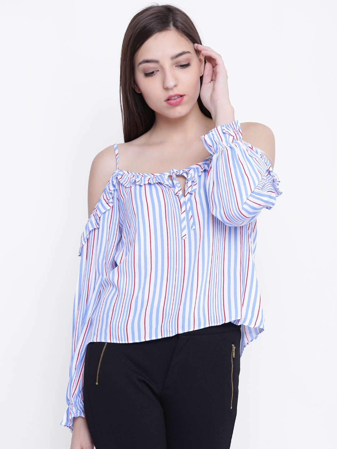 8f925c519cbc6a Buy FOREVER 21 Women Blue   White Striped Bardot Top - Tops for ...