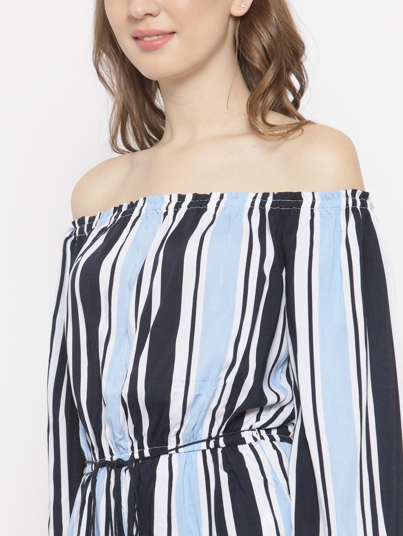 052f7d6c753 Buy FOREVER 21 Blue   White Striped Off Shoulder Playsuit - Jumpsuit ...