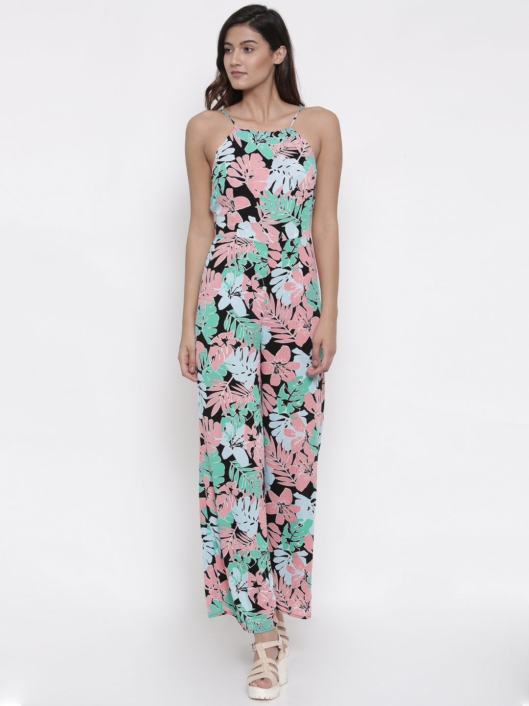 1297838e887 Buy FOREVER 21 Black   Green Tropical Print Jumpsuit - Jumpsuit for ...